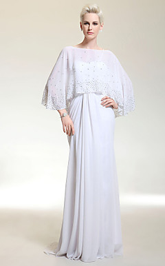 Chiffon Column Bateau Floor-length Evening Dress With A Wrap inspired by Jennifer Lopez at Golden Globe Award