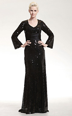 Sequined Sheath/ Column V-neck Floor-length Evening Dress inspired by Mary Hart at the 83rd Oscar
