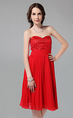 A-line Princess Sweetheart Strapless Knee-length Chiffon Bridesmaid Dress