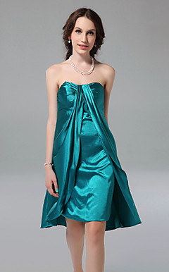 Sheath/Column Sweetheart Knee-length Stretch Satin Bridesmaid Dress