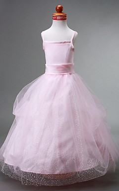 Ball Gown Spaghetti Straps Floor-length Satin Flower Girl Dress
