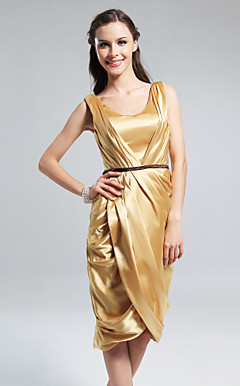 Charmeuse Sheath/Column Scoop Knee-length Cocktail Dress inspired by Emmy Rossum