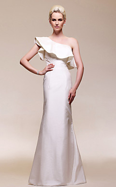 Taffeta Trumpet/Mermaid One Shoulder Floor-length Evening Dress inspired by Renee Bargh