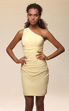 Stretch Satin Sheath/Column One Shoulder Short/Mini Cocktail Dress inspired by Scarlett Johansson