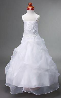Ball Gown Spaghetti Straps Floor-length Organza Flower Girl Dress