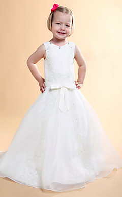 A-line V-neck Floor-length Satin Flower Girl Dress