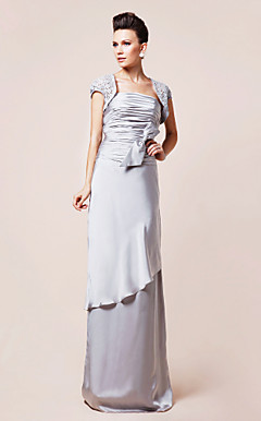 Sheath/Column Strapless Floor-length Satin Chiffon Mother of the Bride Dress With A Wrap