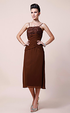 Sheath/Column Spaghetti Straps Tea-length Chiffon Mother of the Bride Dress With Embroidery