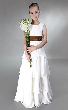 A-line Jewel Floor-length Chiffon Junior Bridesmaid Dress