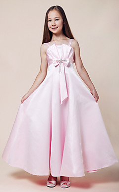 A-line Spaghetti Straps Empire Floor-length Stretch Satin Junior Bridesmaid Dress