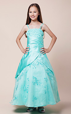 Ball Gown Spaghetti Straps Floor-length Satin Junior Bridesmaid Dress With Embroidery
