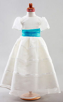 A-line Jewel Floor-length Organza Satin Flower Girl Dress