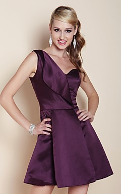 Satin A-line One Shoulder Short/ Mini Cocktail Dress inspired by Mandy Moore