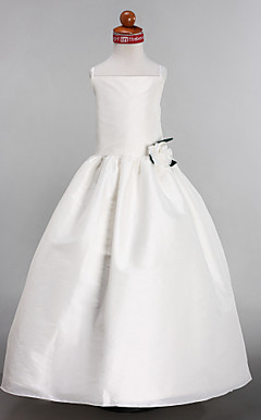 A-line Spaghetti Straps Court Train Taffeta Flower Girl Dress