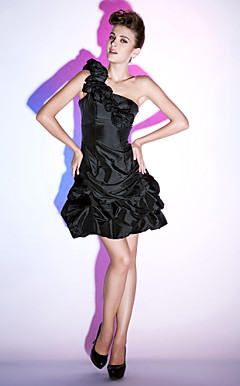 A-line One Shoulder Short/Mini Taffeta Cocktail Dress