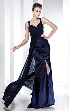 Sheath/ Column Straps Floor-length Chiffon Evening Dress With Split Front