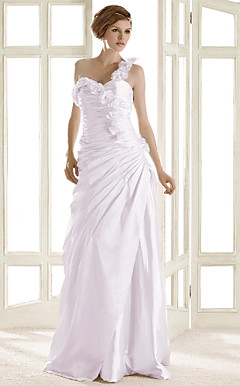 A-line One Shoulder Sweep/ Brush Train Elastic Woven Satin Wedding Dress