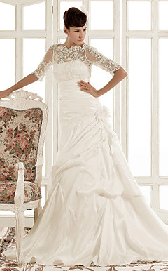 A-line Jewel Chapel Train Taffeta Wedding Dress