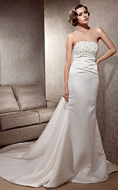 Trumpet/Mermaid Strapless Cathedral Train Satin Lace Wedding Dress