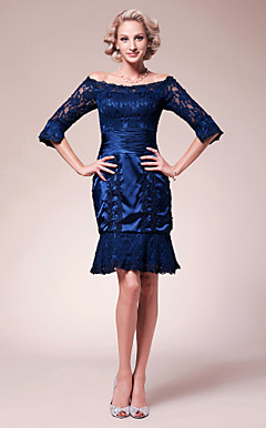 Sheath/Column Off-the-shoulder Knee-length Lace Stretch Satin Mother of the Bride Dress