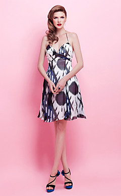 A-line Halter Knee-length Chiffon Cocktail Dress