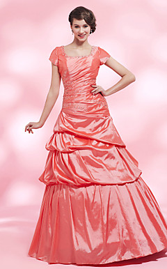 A-line Square Floor-length Taffeta Evening Dress