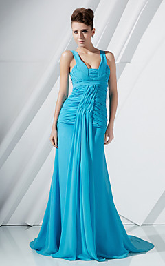 A-line Straps Watteau Train Chiffon Evening Dress inspired by Eva Longoria Parker