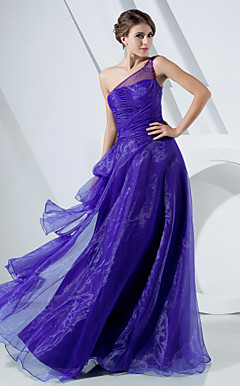A-line One Shoulder Floor-length Organza Evening Dress