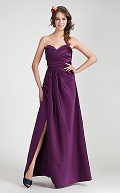 A-line Sweetheart Floor-length Satin Bridesmaid Dress