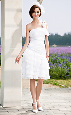 A-line One Shoulder Knee-length Chiffon Wedding Dress