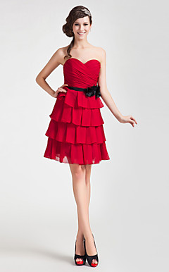 A-line Sweetheart Short/ Mini Chiffon Bridesmaid Dress
