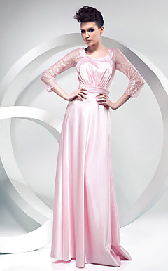 Sheath/Column Scoop Floor-length Stretch Satin And Lace Evening Dress