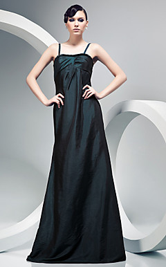 A-line Spaghetti Strap Floor-length Taffeta Evening Dress