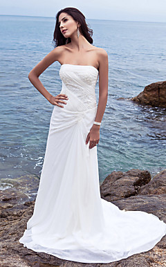 Sheath/ Column Side-Draped Fit and Flare Wedding Dresses with Beaded Applique