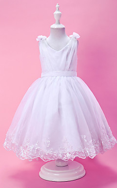 A-line V-neck Tea-length Organza And Satin Flower Girl Dress With Buttons