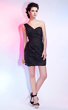 Sheath/ Column One Shoulder Short/ Mini Taffeta Cocktail Dress