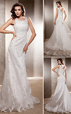 Trumpet/ Mermaid Scoop Cathedral Train Tulle Wedding Dress