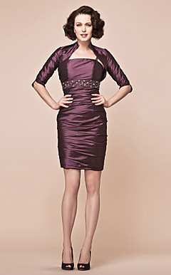 Sheath/Column Spaghetti Strap Short/Mini Taffeta Mother Of The Bride Dress