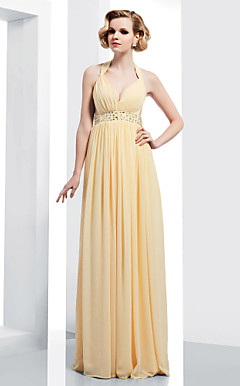 Sheath/Column V-neck Straps Floor-length Chiffon Evening Dress