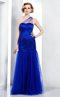 Tulle Trumpet/Mermaid One Shoulder Floor-length Evening Dress inspired by Mandy Moore at Golden Globe Award