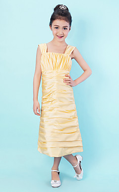 Sheath/Column Tea-length Taffeta And Polyester Junior Bridesmaid Dress