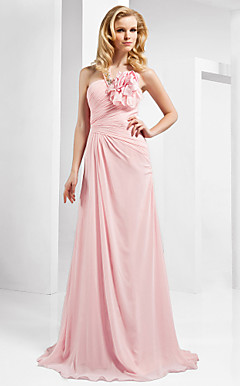 A-line One Shoulder Sleeveless Floor-length Chiffon Evening Dress