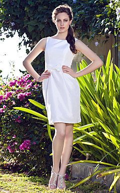 Sheath/Column Bateau Short/Mini Taffeta Wedding Dress