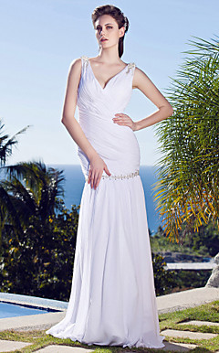 Sheath/Column V-neck Floor-length Chiffon Wedding Dress
