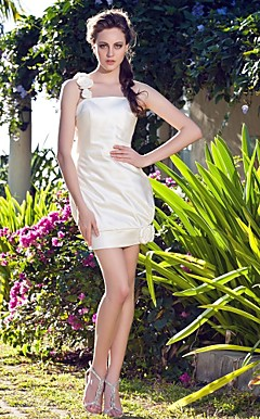 Sheath/Column Short/Mini Satin Wedding Dress With 3D Florals