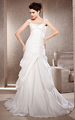 A-line Court Train Taffeta And Tulle Wedding Dress With Straps