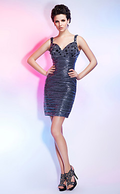 Sheath/Column Short/Mini Sequined Cocktail Dress With Straps