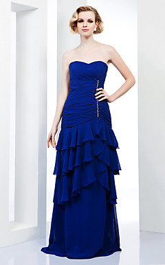 Sheath/ Column Sweetheart Floor-length Chiffon Evening Dress With Tiers