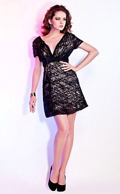 Sheath / Column V-neck Short / Mini Lace Cocktail Dress
