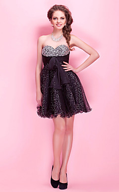 A-line Sweetheart Short / Mini Sequined Tulle Cocktail Dress